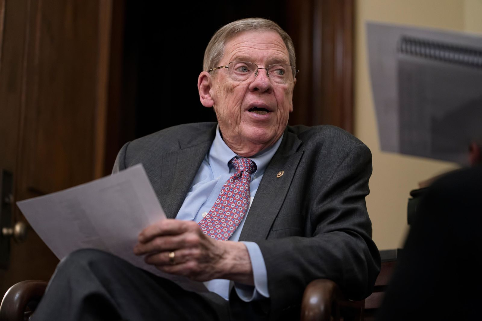 Sen. Johnny Isakson, R-Ga., meets with his staff in his office on Capitol Hill in Washington, Monday, Dec. 2, 2019, as he prepares to deliver his farewell address on the floor of the Senate tomorrow.{ } (AP Photo/J. Scott Applewhite)