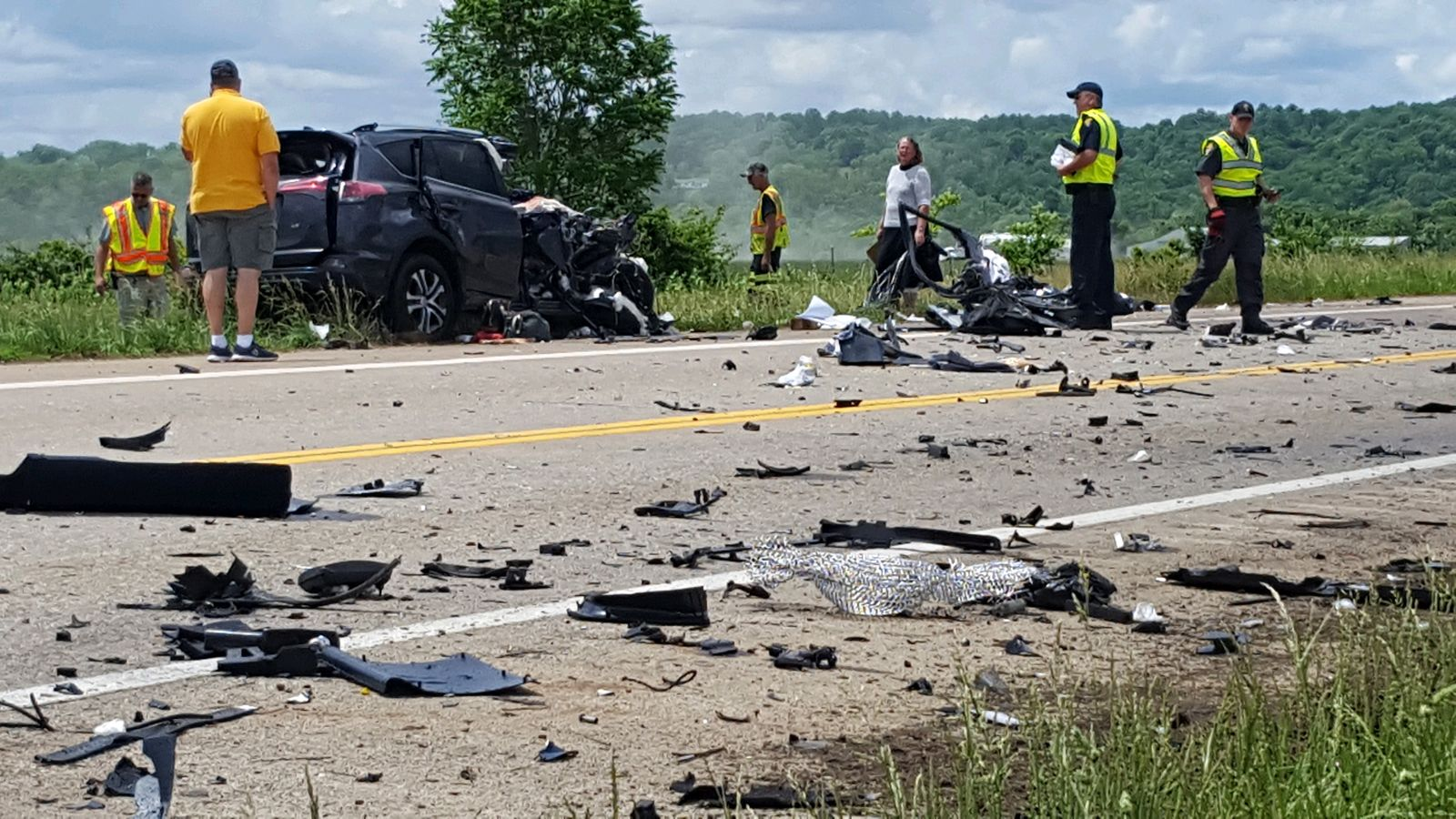 Debris from a double fatal crash covers part of U.S. 33 in Meigs County, Ohio. (WCHS/WVAH)