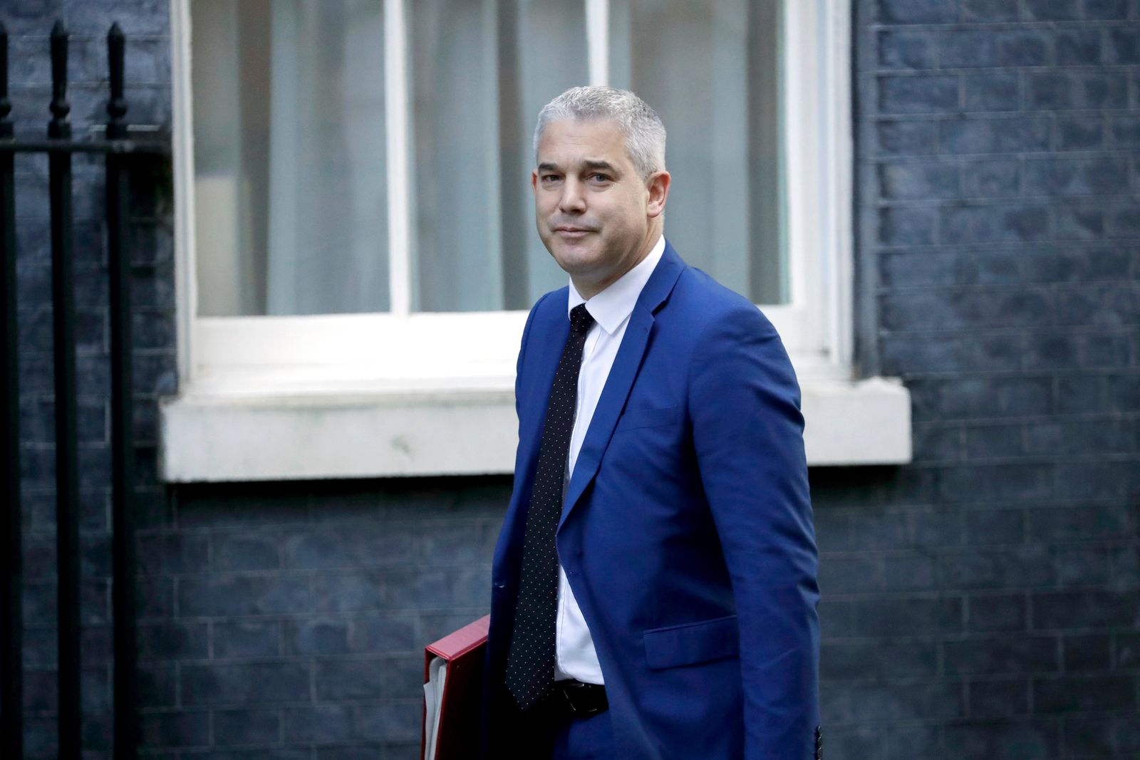 Britain's Secretary of State for Exiting the European Union Steve Barclay arrives for a cabinet meeting at 10 Downing Street in London, Tuesday, Oct. 22, 2019.{ } (AP Photo/Matt Dunham)