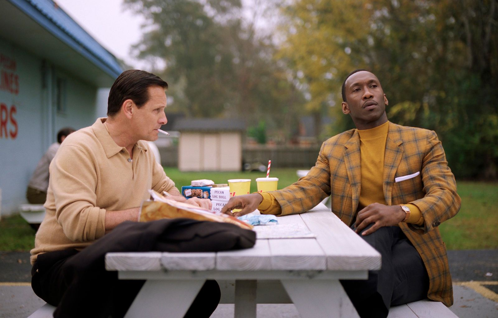 "This image released by Universal Pictures shows Viggo Mortensen, left, and Mahershala Ali in a scene from ""Green Book."" The film is nominated for an Oscar for best picture. The 91st Academy Awards will be held on Sunday. (Universal Pictures via AP)"