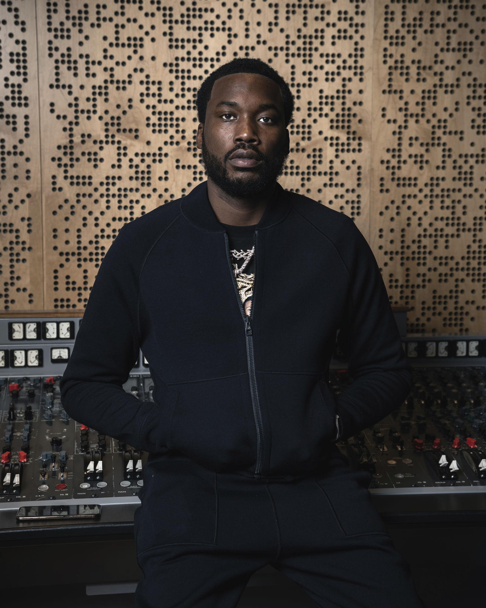 "This Dec. 4, 2019 photo shows Meek Mill posing for a portrait at Jungle City Studios in New York. Mill, born Robert Rihmeek Williams, is competing for a Grammy Award for best rap album with the platinum-seller ""Championships,"" his passionate project detailing his life. (Photo by Christopher Smith/Invision/AP)"