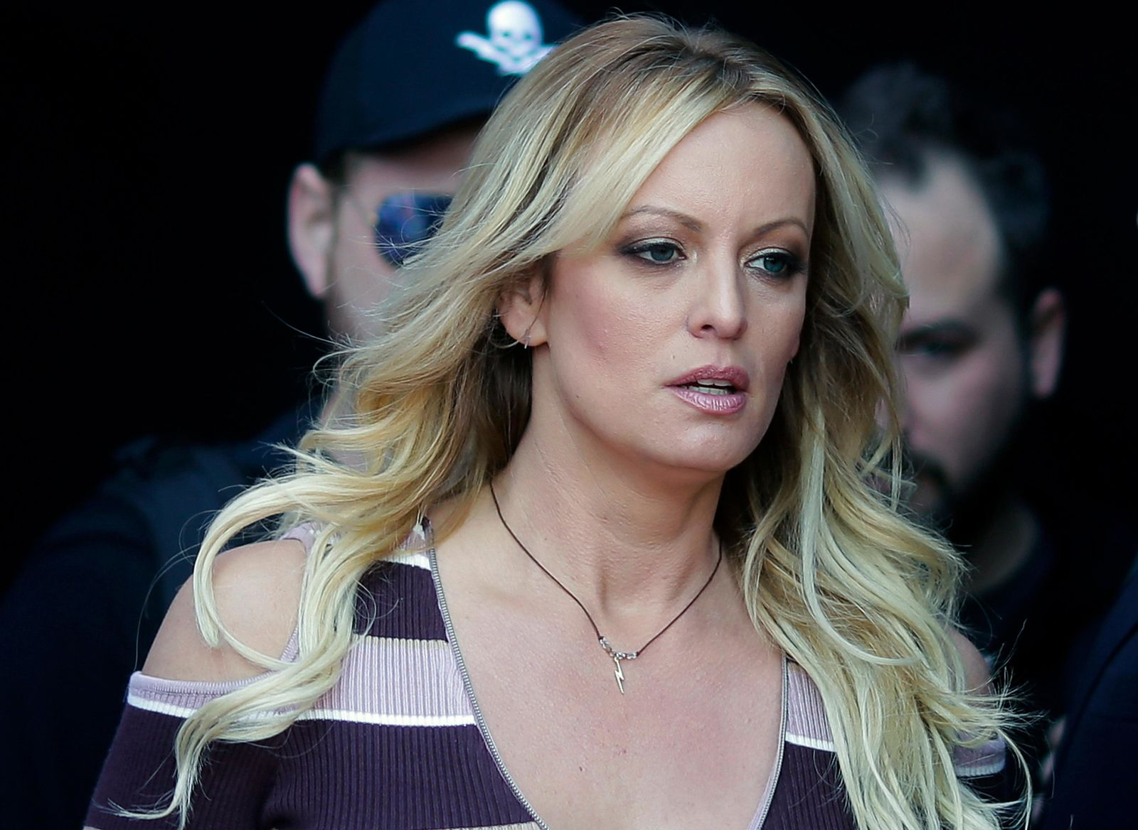 "FILE - In this Oct. 11, 2018, file photo, adult film actress Stormy Daniels arrives at the adult entertainment fair ""Venus"" in Berlin. (AP Photo/Markus Schreiber, File)"