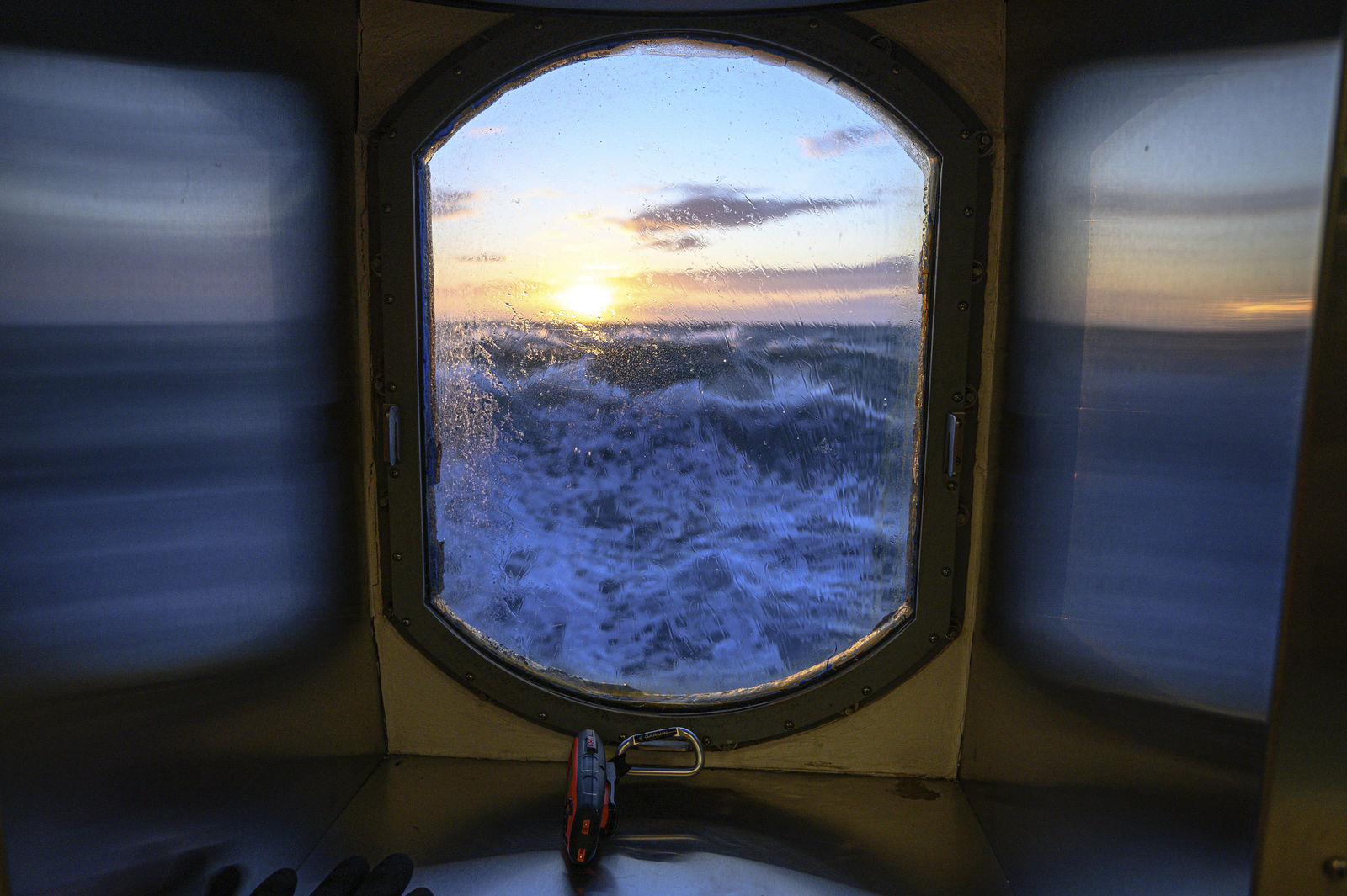 This Nov. 8, 2019, photo provided by John Guillote shows a view from the main lab of the Sikuliaq in the Chukchi Sea. University of Washington scientists onboard the research vessel are studying the changes and how less sea ice will affect coastlines, which already are vulnerable to erosion because increased waves delivered by storms. More erosion would increase the chance of winter flooding in villages and danger to hunters in small boats. (John Guillote via AP)