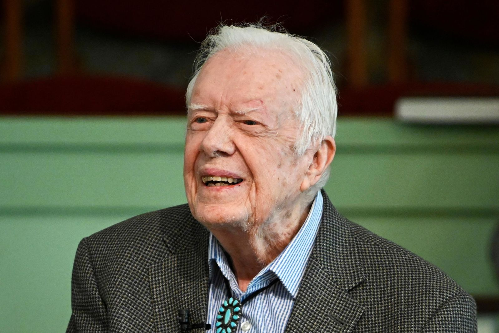 FILE - In this Nov. 3, 2019 file photo, former President Jimmy Carter teaches Sunday school at Maranatha Baptist Church in Plains, Ga. Deanna Congileo, a spokeswoman for The Carter Center, said Monday, Dec. 2, 2019 in a statement that the 95-year-old former president was admitted to Phoebe Sumter Medical Center in Americus over the weekend.  (AP Photo/John Amis, File)