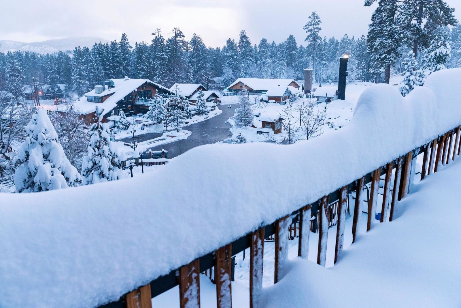This photo provided by Big Bear Mountain Resort shows a fresh snow fall at Big Bear Mountain Resort in Big Bear Lake, Calif., Friday, Nov. 29, 2019. California is drenched or blanketed in snow after a powerful Thanksgiving storm. Rain and snow showers are continuing in parts of the state Friday, Nov. 29, 2019, while skies are clearing elsewhere. (Big Bear Mountain Resort via AP)