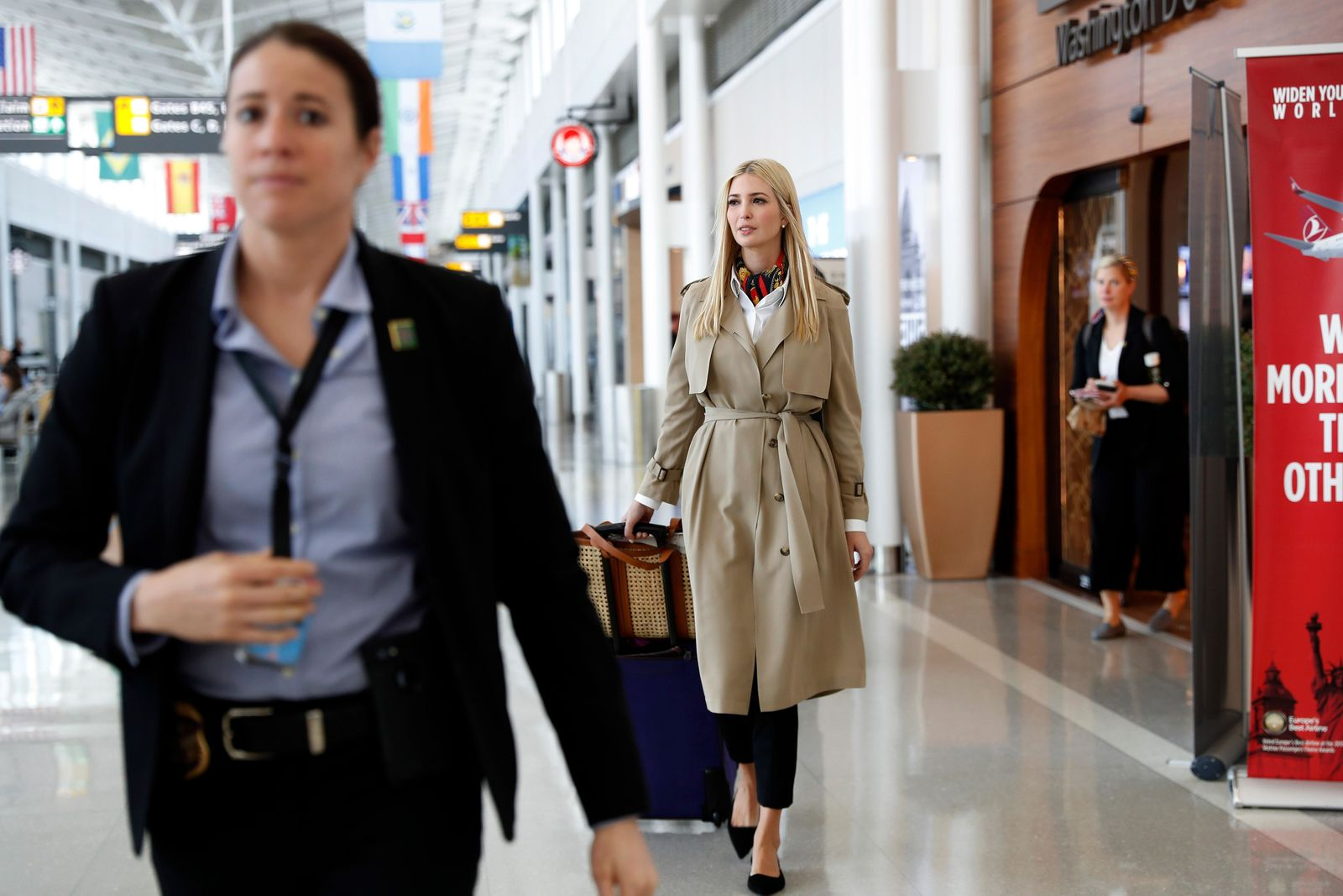 ADDS MORE INFORMATION ON TRIP - White House senior adviser Ivanka Trump walks through a terminal before boarding a commercial flight from Dulles International Airport, in Sterling, Va., Saturday April 13, 2019, en route to Ethiopia. Trump will travel to Ethiopia and Ivory Coast to promote a global economical program for women. (AP Photo/Jacquelyn Martin)