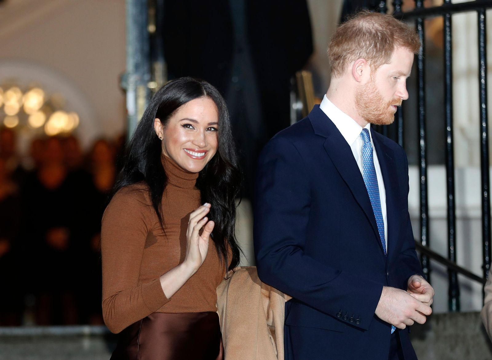 FILE - In this Jan. 7, 2020, file photo, Britain's Prince Harry and Meghan, Duchess of Sussex leave after visiting Canada House in London, after their recent stay in Canada.{ } (AP Photo/Frank Augstein, File)