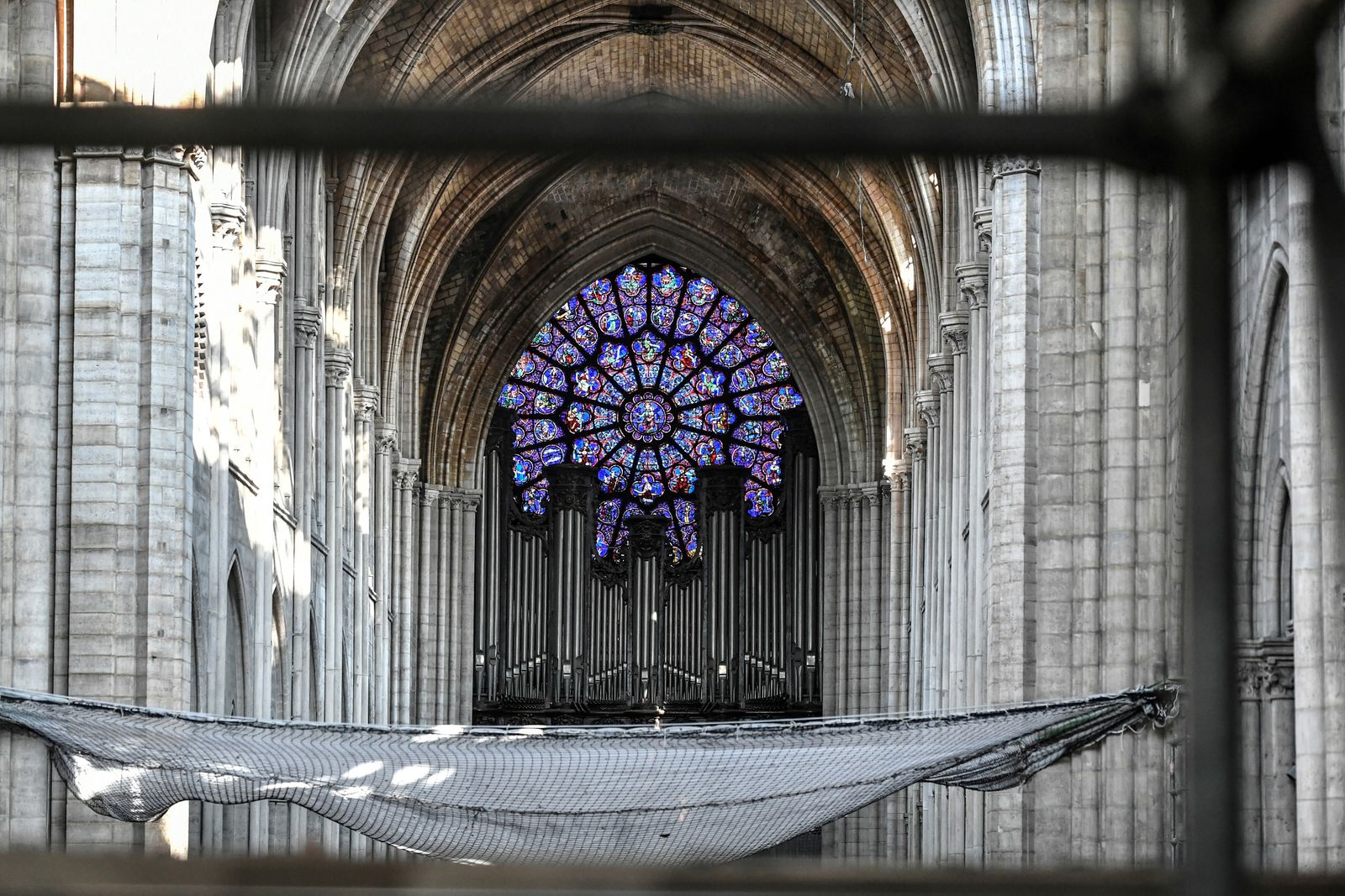 The big organ is pictured during preliminary work at the Notre-Dame de Paris Cathedral, Wednesday, July 17, 2019 in Paris. The chief architect of France's historic monuments says that three months after the April 15 fire that devastated Notre Dame Cathedral the site is still being secured. (Stephane de Sakutin/Pool via AP)