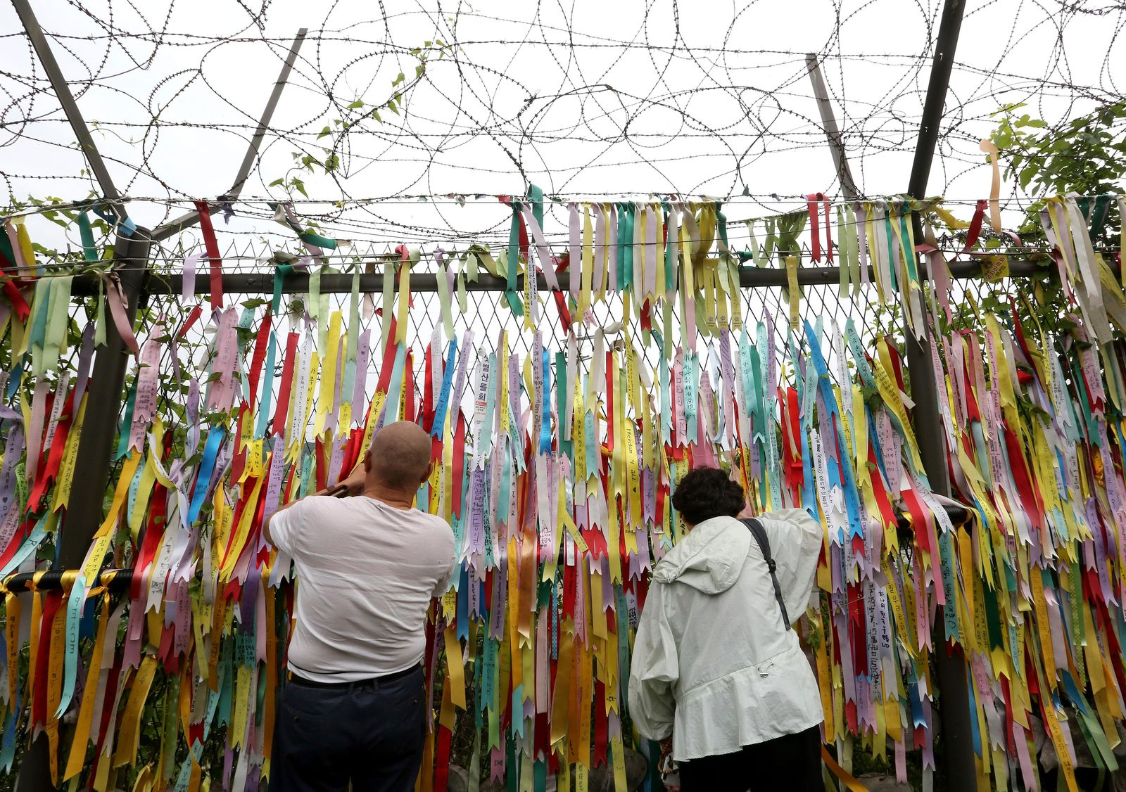 Visitors look through a wire fence decorated with ribbons written with messages wishing for the reunification of the two Koreas at the Imjingak Pavilion, near the demilitarized zone of Panmunjom, in Paju, South Korea, Thursday, June 20, 2019. (AP Photo/Ahn Young-joon)