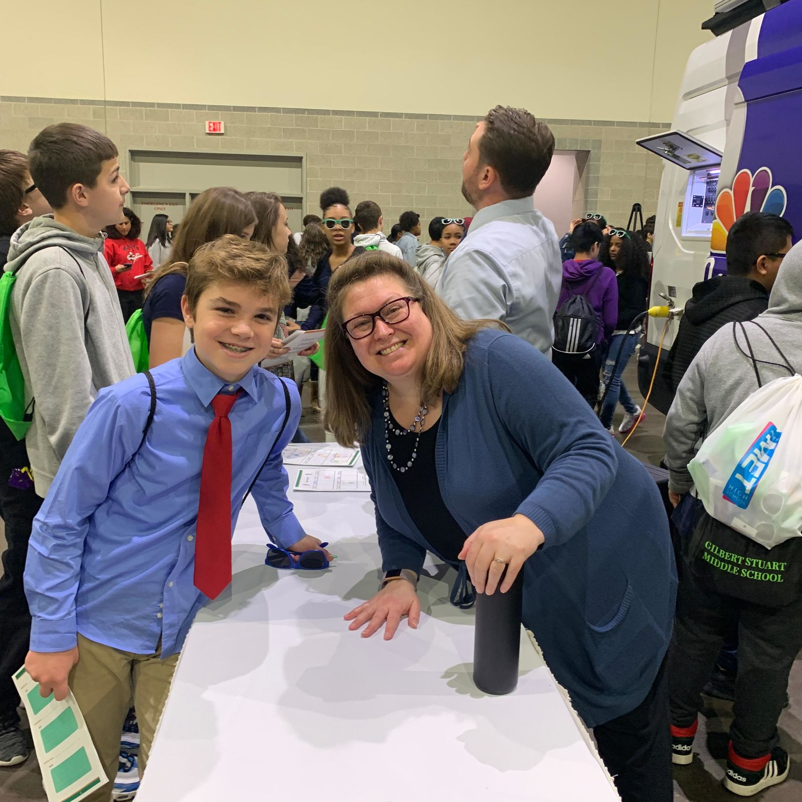 NBC 10 News meteorologist Kelly Bates was there Wednesday, Nov. 20, 2019, showing children how she forecasts the weather. (WJAR)