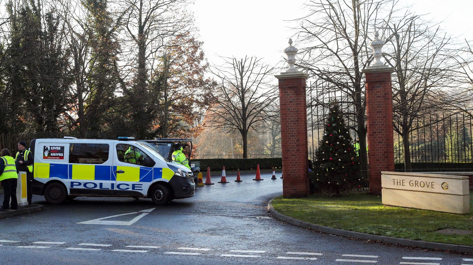 Police outside The Grove hotel in Watford ahead of the NATO Leaders Meeting beginning on Tuesday, in Hertfordshire, England, Monday, Dec. 2, 2019. (Steve Parsons/PA via AP)