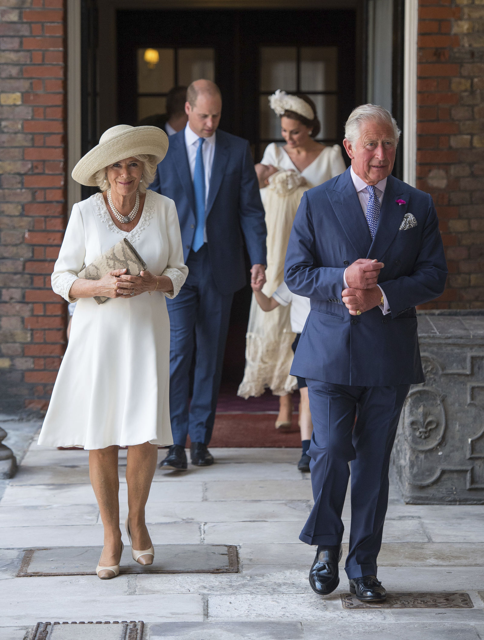 Britain's Prince Charles and Camilla Duchess of Cornwall arrive for the christening service of Prince Louis at the Chapel Royal, St James's Palace, London, Monday, July 9, 2018. (Dominic Lipinski/Pool Photo via AP)
