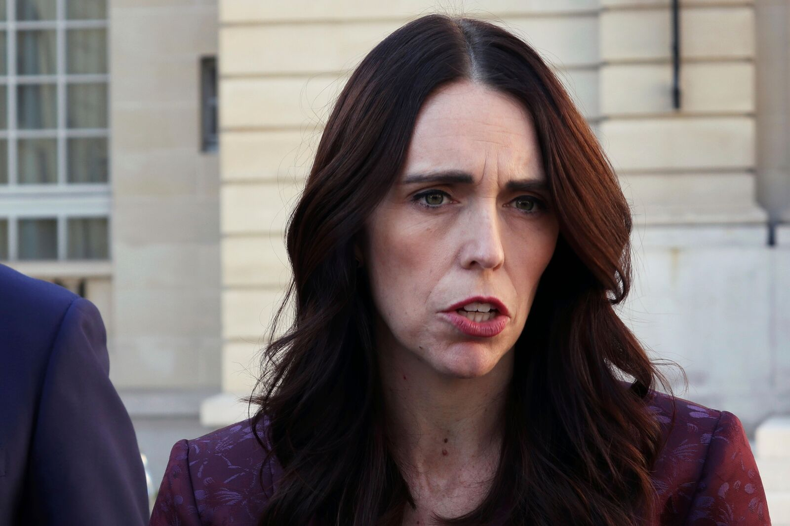 New Zealand Prime Minister Jacinda Ardern gives a press conference, at the OECD headquarters, in Paris, Tuesday, May 14, 2019. (AP Photo/Thibault Camus)