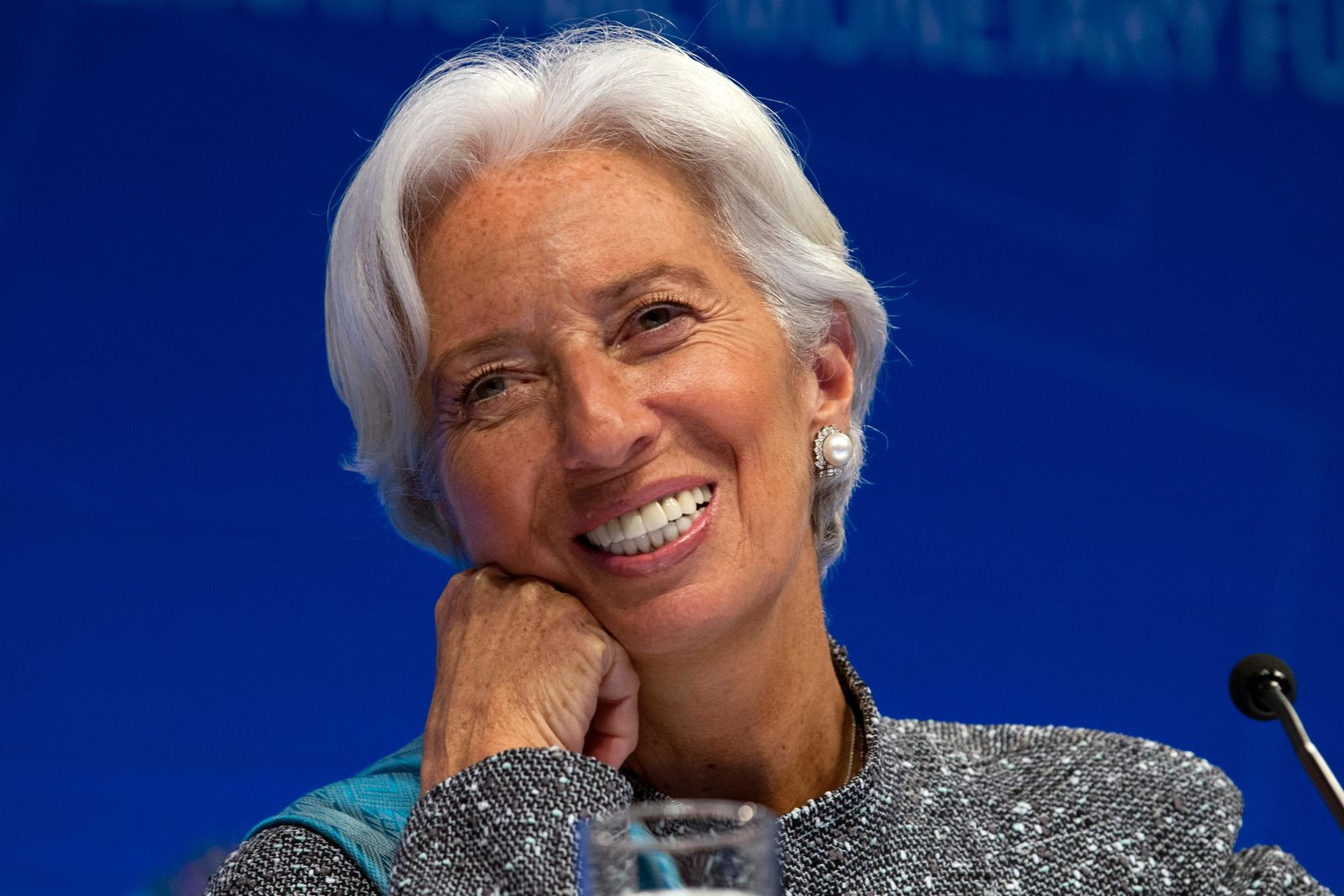 International Monetary Fund Managing Director Christine Lagarde speaks during a news conference after the International Monetary and Financial Committee conference at the World Bank/IMF Spring Meetings in Washington, Saturday, April 13, 2019. (AP Photo/Jose Luis Magana)