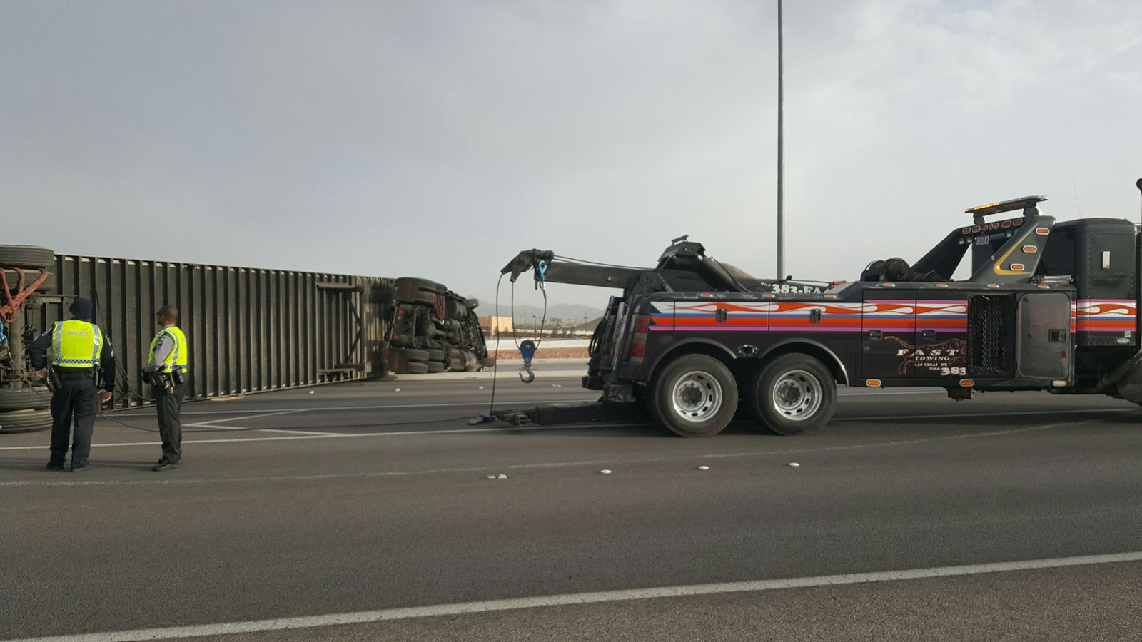 Overturned semi getting removed from St. Rose (Christy Wilcox | KSNV)