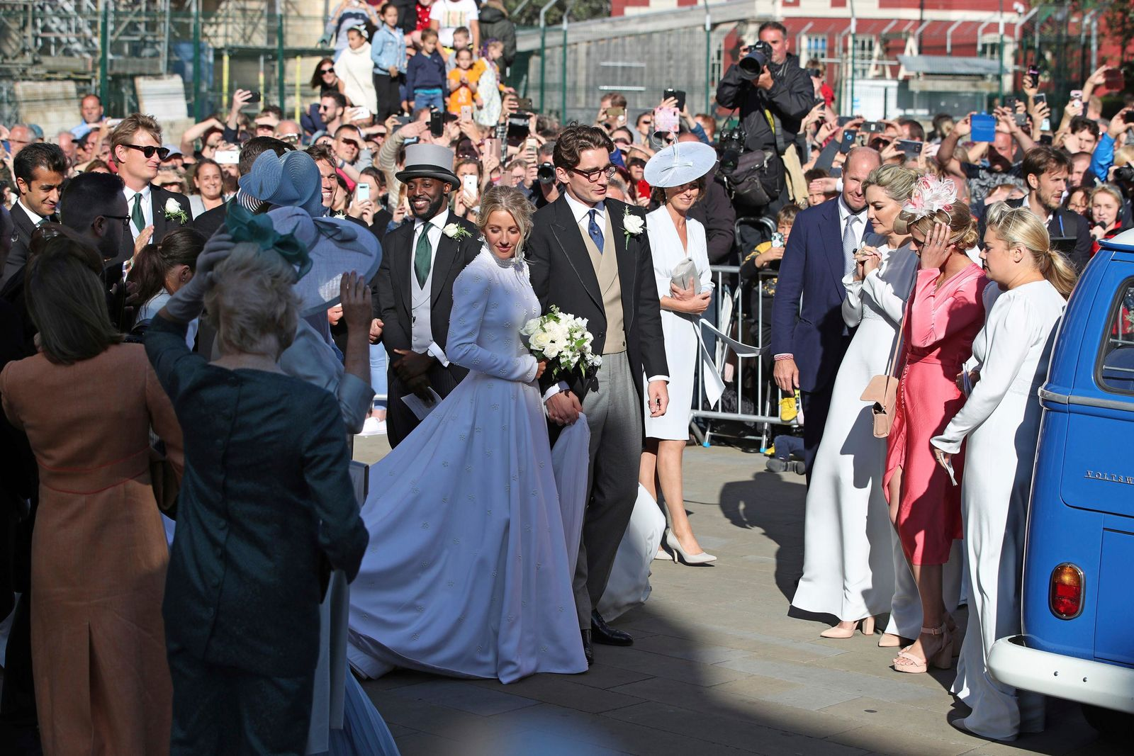 Newly married Ellie Goulding and Caspar Jopling leave York Minster after their wedding, in York, England, Saturday Aug. 31, 2019. (Danny Lawson/PA via AP)