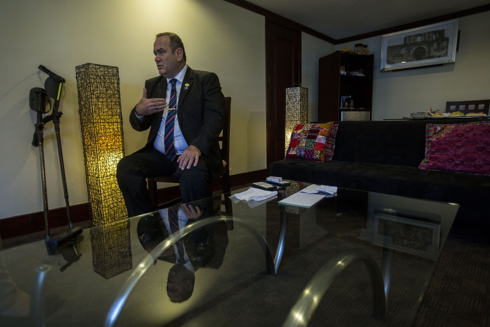 Guatemala's President-elect Alejandro Giammattei gives an interview in Guatemala City, Tuesday, Aug. 13, 2019.  (AP Photo/Oliver de Ros)