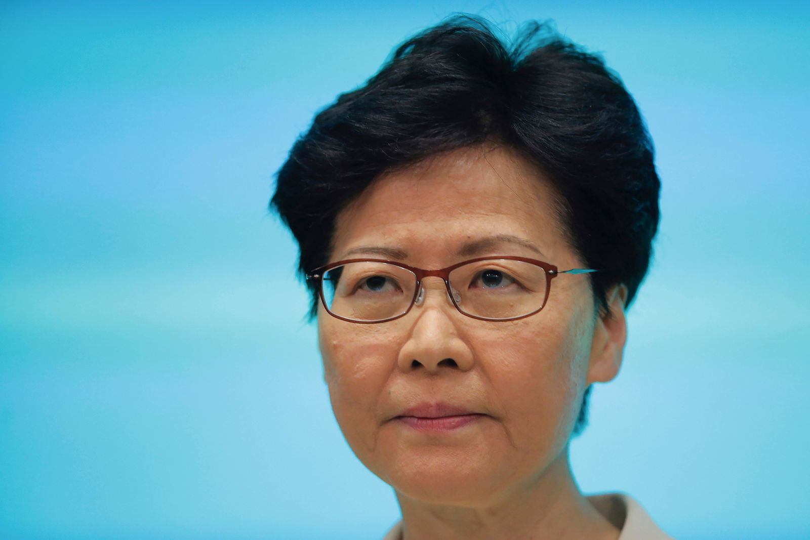 Hong Kong Chief Executive Carrie Lam pauses during a press conference at the Legislative Council in Hong Kong, Tuesday, June 18, 2019. Hong Kong leader apologizes for her handling of unpopular extradition bill, says the city needs hope. (AP Photo/Kin Cheung)