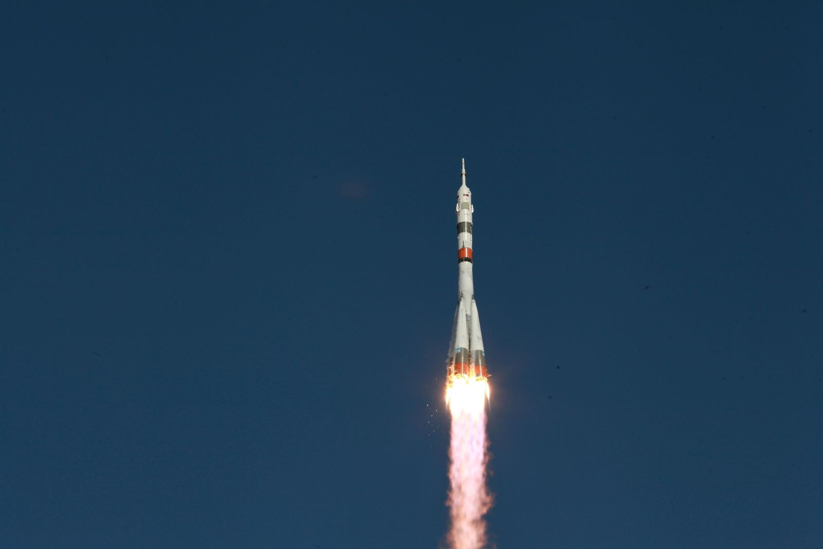 CORRECTING ROCKET NAME AND ADDING ROBOT DETAILS - In this photo taken on Thursday, Aug. 22, 2019, and distributed by Roscosmos Space Agency Press Service, a Soyuz capsule is launched by a new Soyuz 2.1a rocket from the launch pad at Russia's space facility in Baikonur, Kazakhstan.(Roscosmos Space Agency Press Service photo via AP)