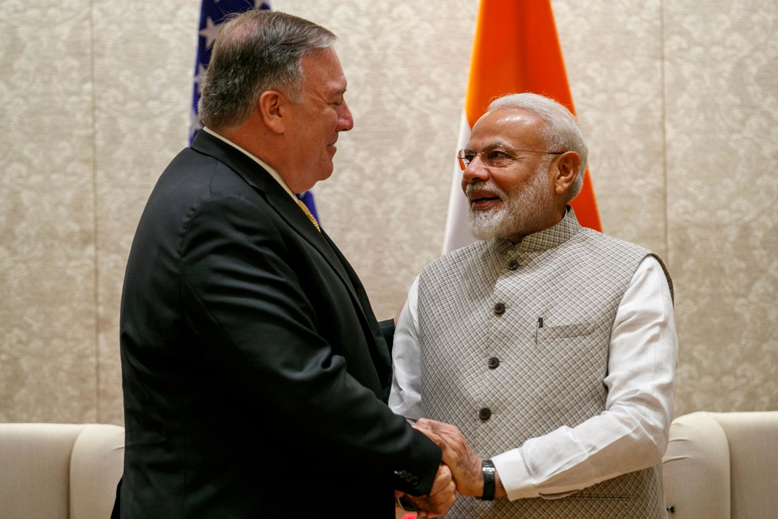 Secretary of State Mike Pompeo, left, shakes hands with Indian Prime Minister Narendra Modi, during their meeting at the Prime Minister's Residence, Wednesday, June 26, 2019, in New Delhi, India. (AP Photo/Jacquelyn Martin, Pool)