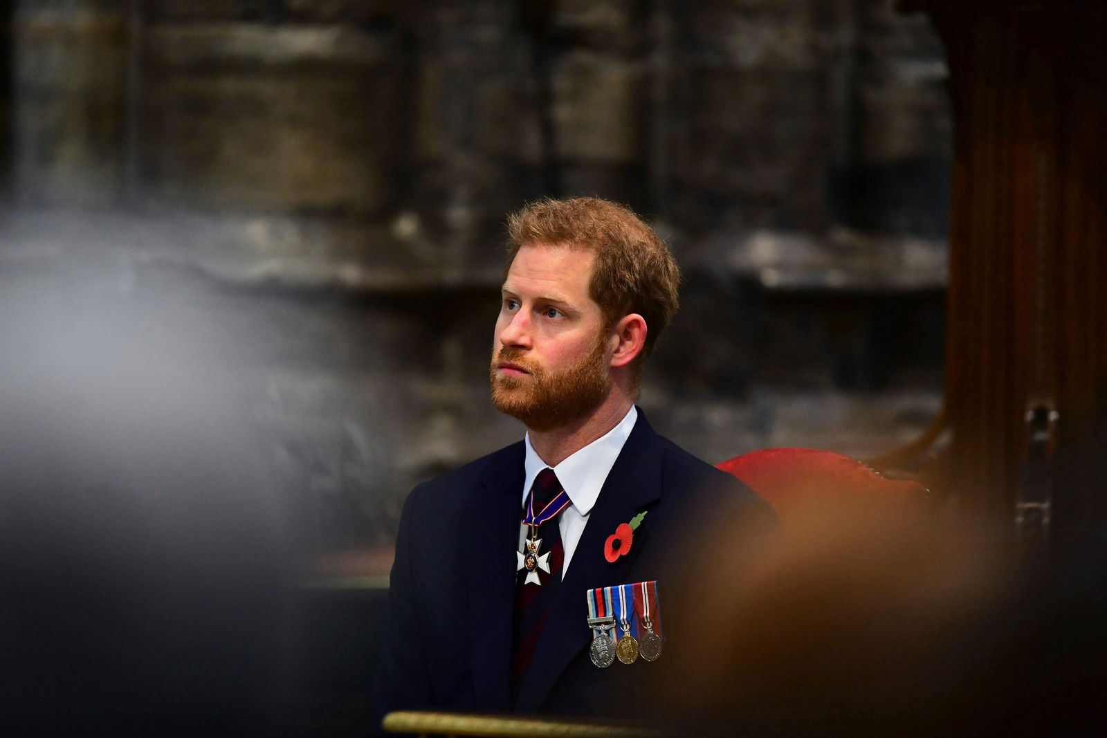 Britain's Prince Harry, the Duke of Sussex attends the Anzac Day Service of Commemoration and Thanksgiving at Westminster Abbey, in London, Thursday April 25, 2019.{ } (Victoria Jones/Pool Photo via AP)