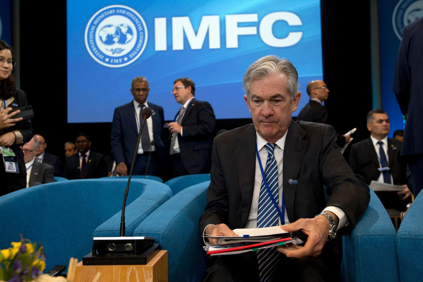 Federal Reserve Board Chair Jerome Powell during the International Monetary and Financial Committee meeting, at the World Bank/IMF Spring Meetings in Washington, Saturday, April 13, 2019. (AP Photo/Jose Luis Magana)