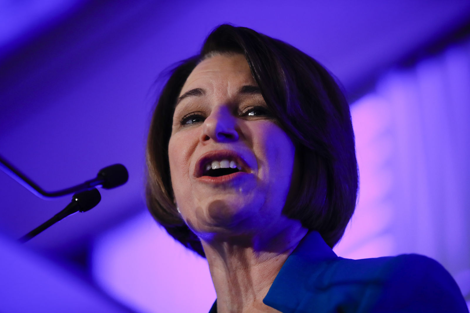 Democratic presidential candidate Sen. Amy Klobuchar, D-Minn speaks at the First in the South Dinner, Monday, Feb. 24, 2020, in Charleston, S.C. (AP Photo/Matt Rourke)