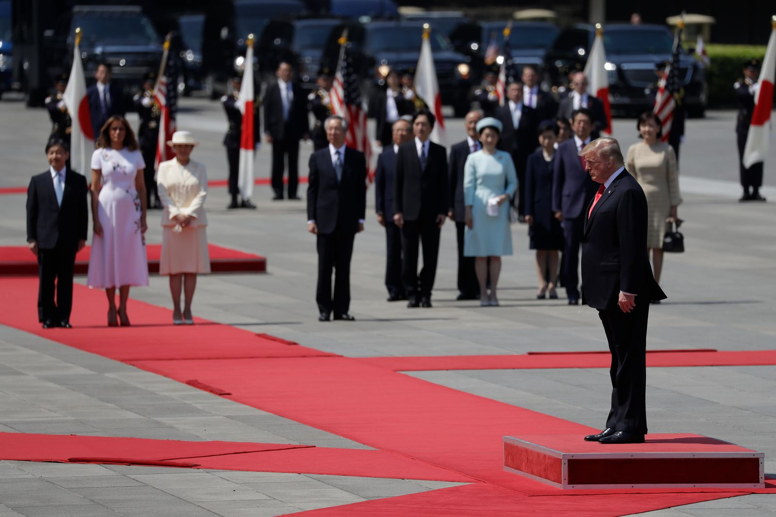 President Donald Trump and first lady Melania Trump participate with Japanese Emperor Naruhito and Japanese Empress Masako during an Imperial Palace welcome ceremony at the Imperial Palace, Monday, May 27, 2019, in Tokyo. (AP Photo/Evan Vucci)