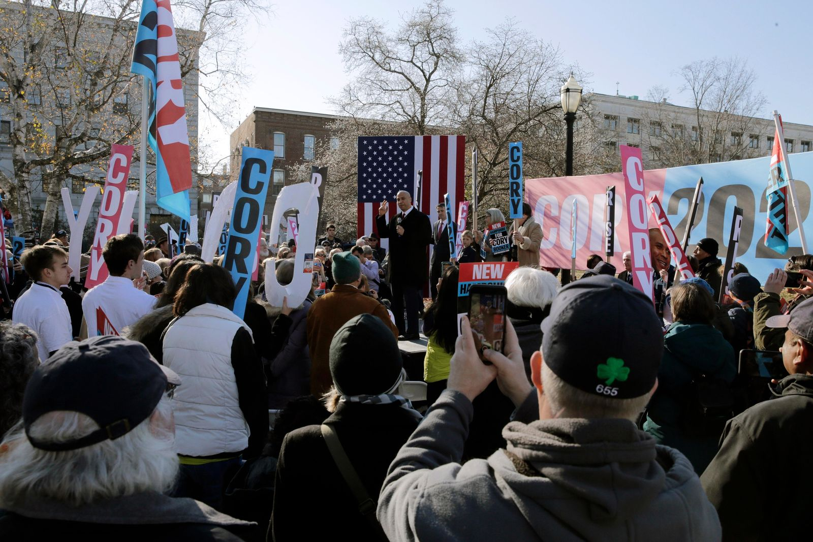 Democratic presidential candidate Sen. Cory Booker, D-N.J., addresses supporters outside the State House after filing to have his name listed on the New Hampshire primary ballot, Friday, Nov. 15, 2019, in Concord, N.H. (AP Photo/Charles Krupa)