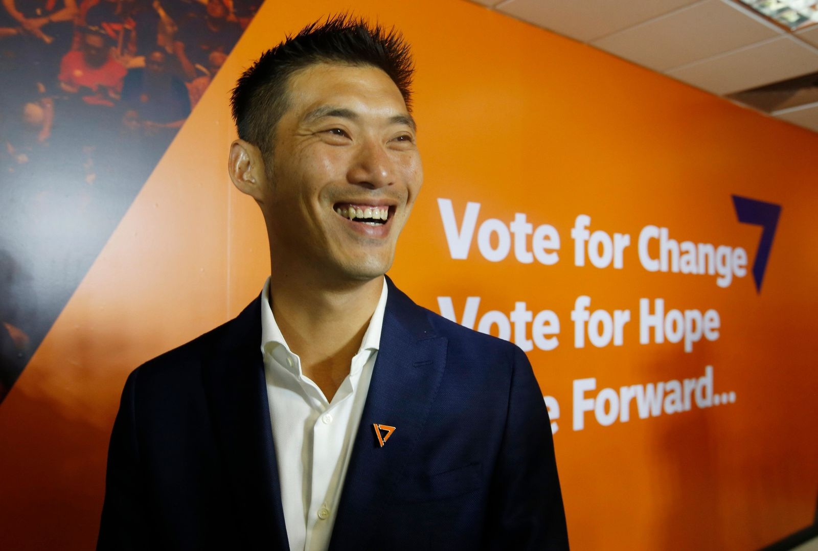 Future Forward Party leader Thanathorn Juangroongruangkit smiles after a press conference at the party headquarters in Bangkok, Thailand, Monday, March 25, 2019. The Election Commission announced the results of 350 constituency races but full vote counts, which are needed to determine the allocation of 150 other seats in the House of Representatives, won't be available until Friday. (AP Photo/Sakchai Lalit)