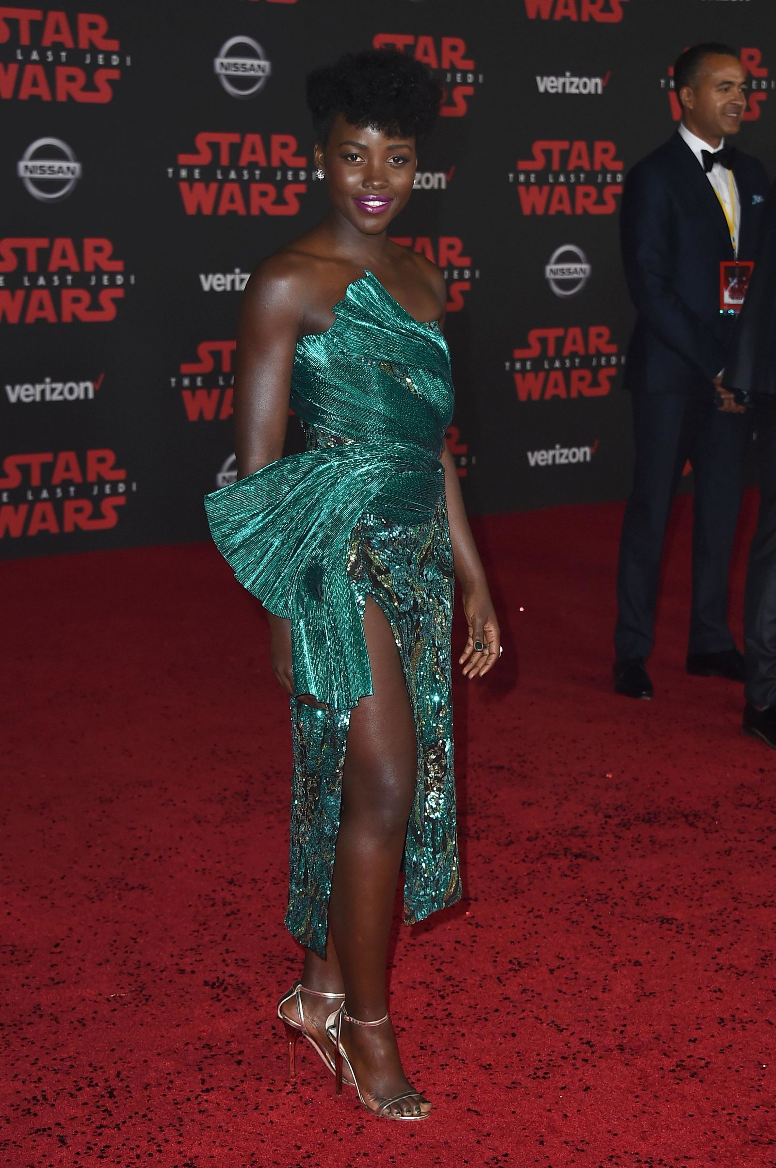 "Lupita Nyong'o arrives at the Los Angeles premiere of ""Star Wars: The Last Jedi"" at the Shrine Auditorium on Saturday, Dec. 9, 2017, in Los Angeles. (Photo by Jordan Strauss/Invision/AP)"
