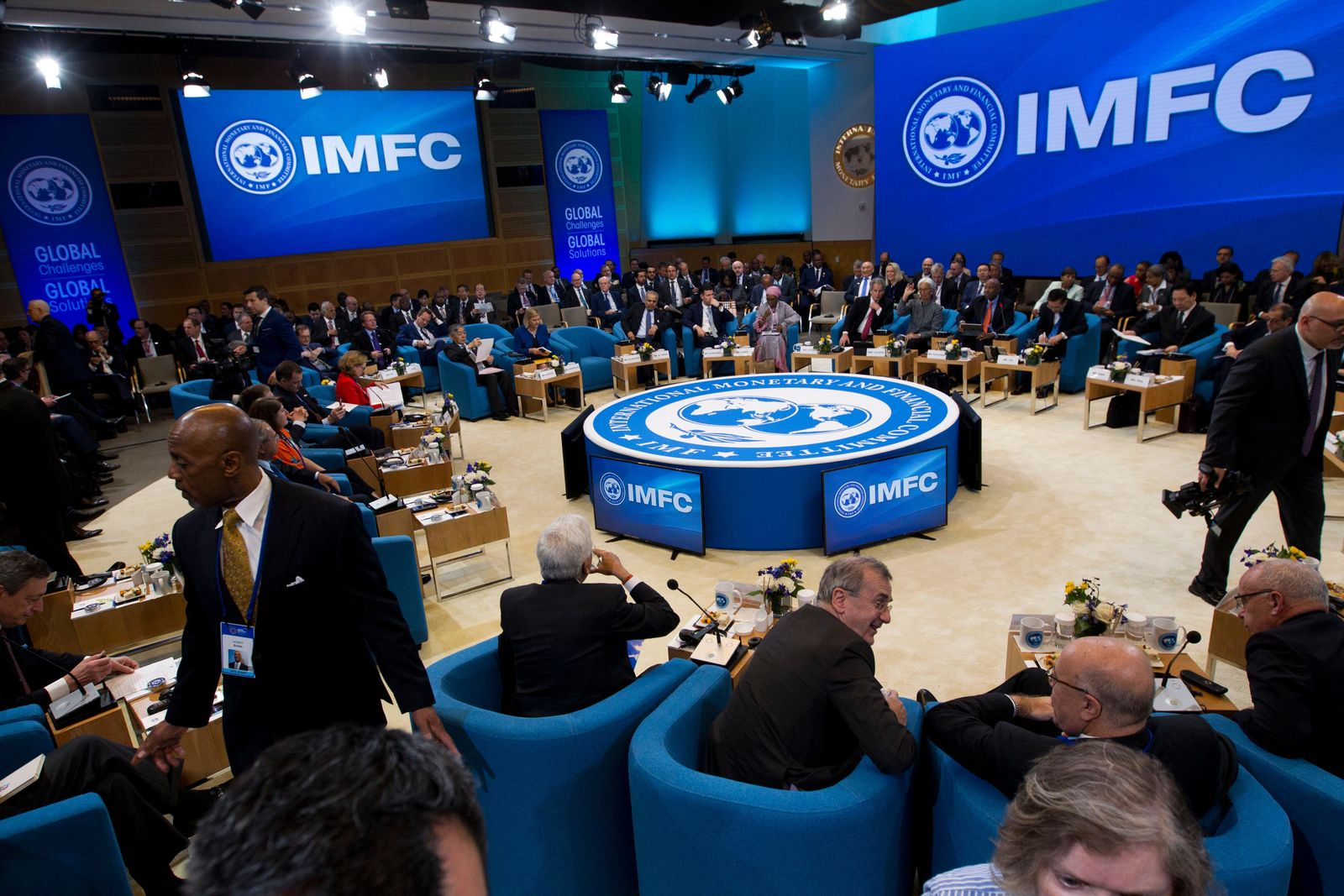 International Monetary and Financial Committee meeting, at the World Bank/IMF Spring Meetings in Washington, Saturday, April 13, 2019. (AP Photo/Jose Luis Magana)