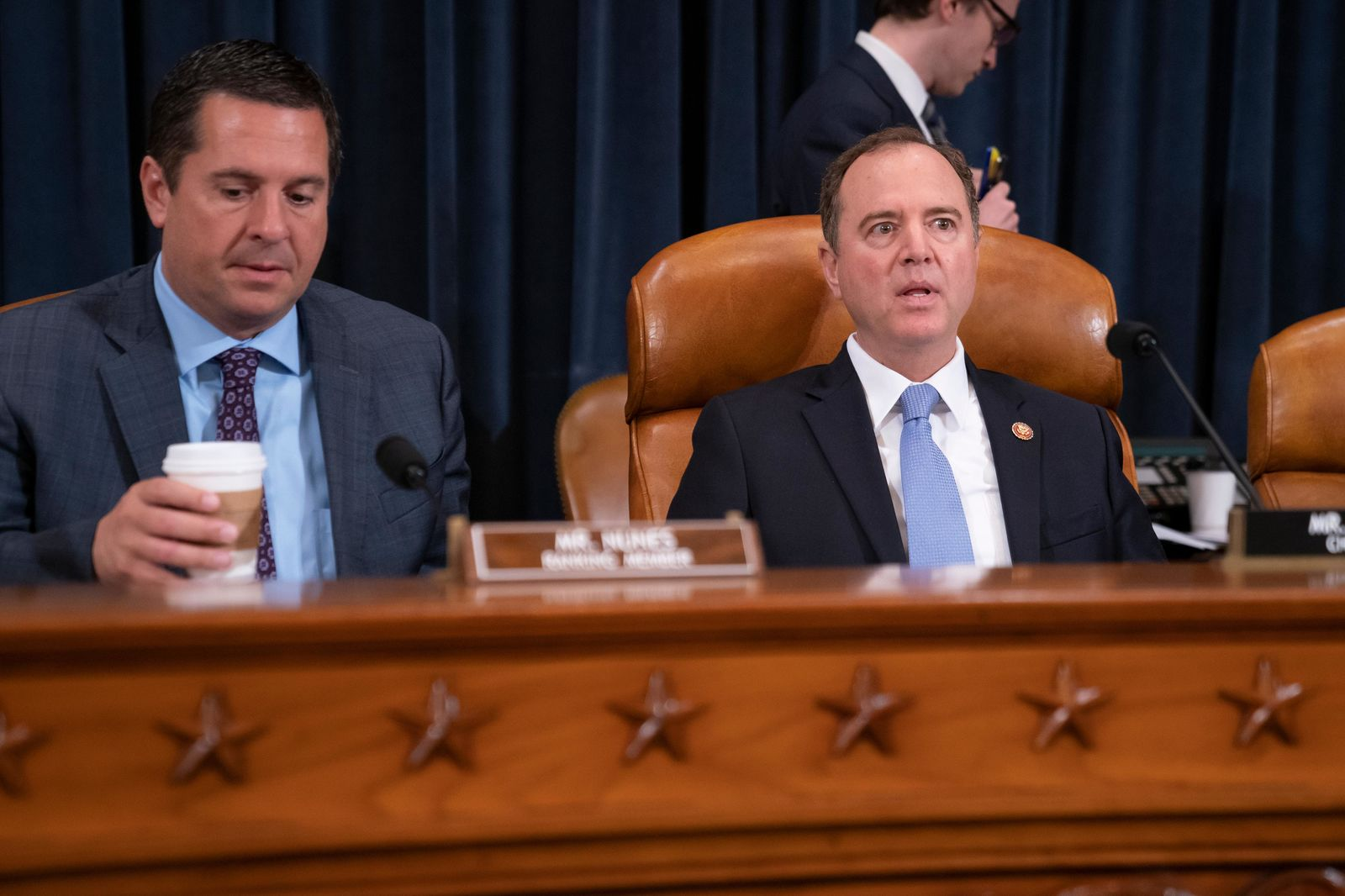 House Intelligence Committee Chairman Adam Schiff, D-Calif., right, joined by Rep. Devin Nunes, R-Calif, left, the ranking member, opens a hearing on politically motivated fake videos and manipulated media, on Capitol Hill in Washington, Thursday, June 13, 2019.  (AP Photo/J. Scott Applewhite)