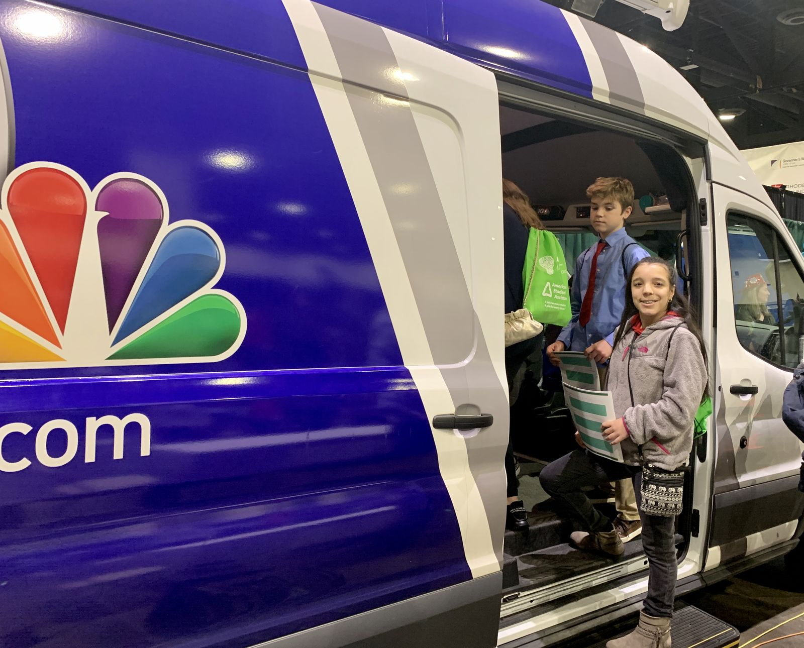 Celine DeSousa, a student at Martin Middle School in Providence, checks out the NBC 10 live truck. (WJAR)