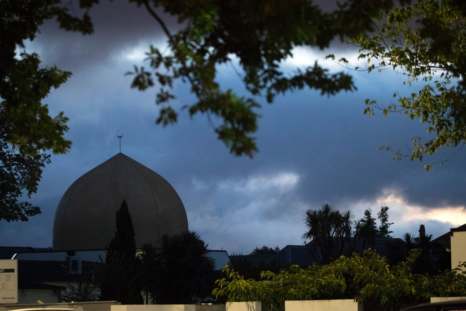 Al Noor mosque is shaded by clouds in Christchurch, New Zealand, Tuesday, March 19, 2019. (AP Photo/Vincent Thian)