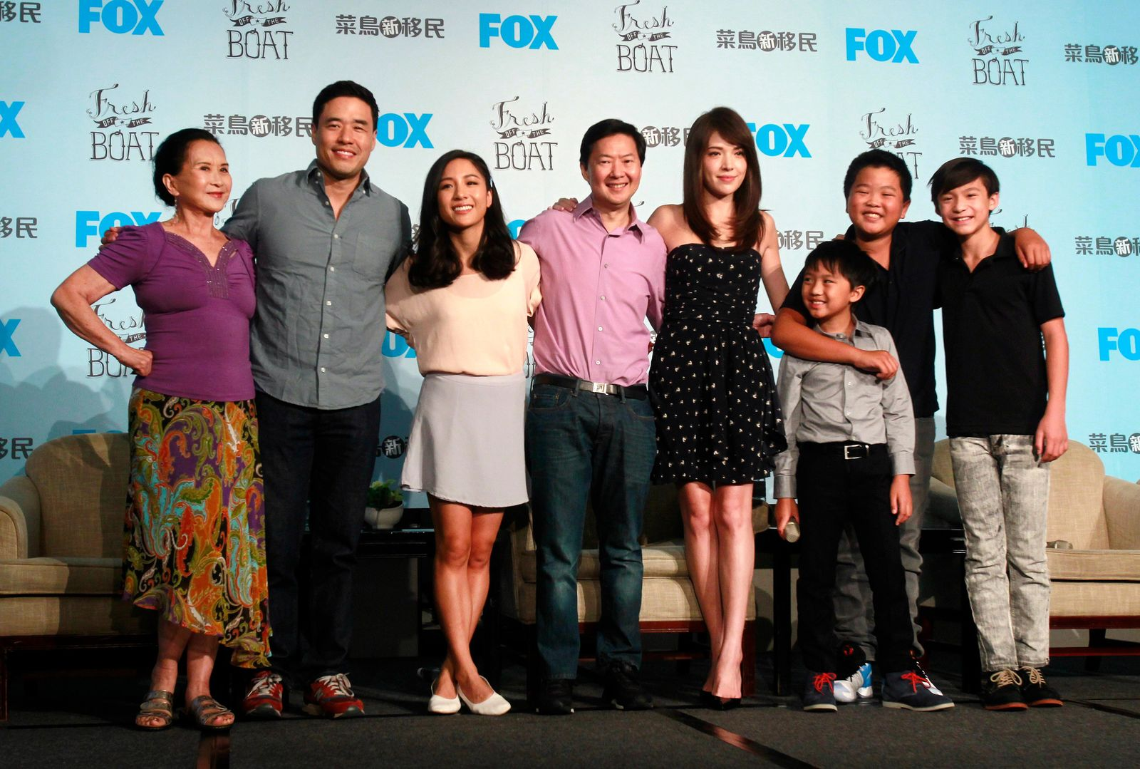 "FILE - In this Friday, Aug. 5, 2016 file photo, actors, from left, Lucille Soong, Randall Park, Constance Wu, Ken Jeong, Ann Hsu, Ian Chen, Hudson Yang and Forrest Wheeler pose for photographers during a media event promoting their television comedy series ""Fresh off the Boat"" in Taipei, Taiwan. (AP Photo/Chiang Ying-ying)"
