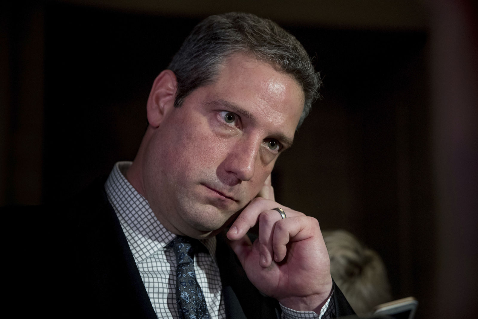 FILE - In this Nov. 30, 2016 file photo,  Rep. Tim Ryan, D-Ohio, pauses while speaking to members of the media following the House Democratic Caucus elections on Capitol Hill in Washington.(AP Photo/Andrew Harnik, File)
