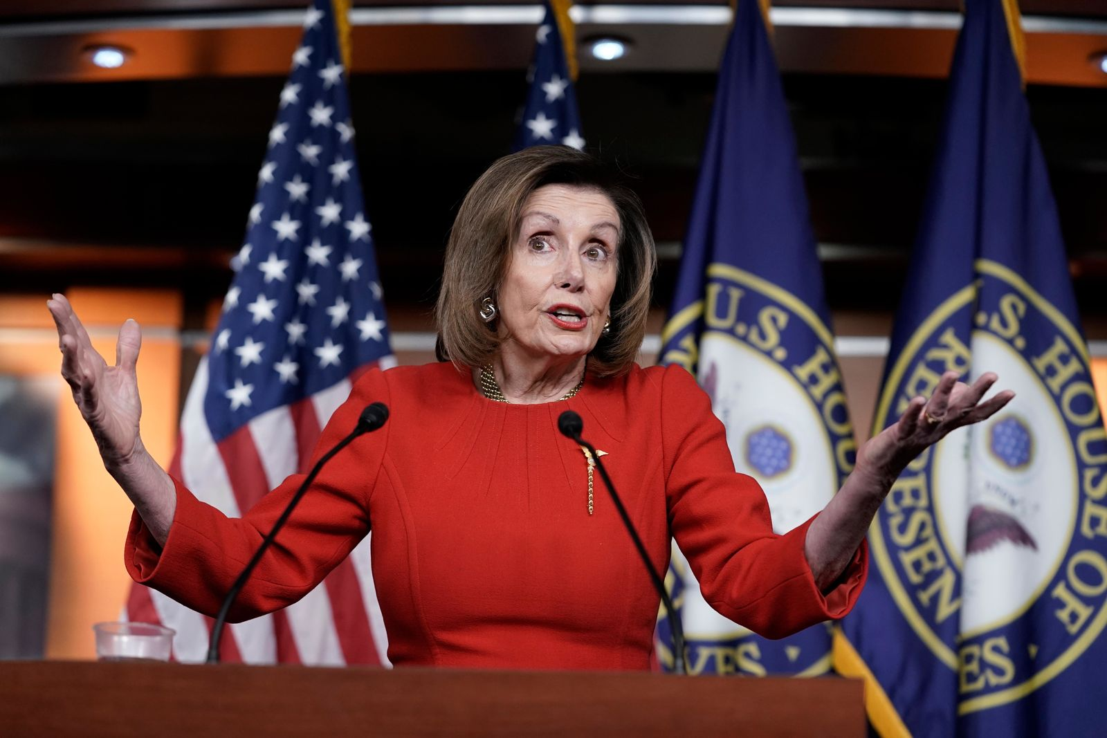 Speaker of the House Nancy Pelosi, D-Calif., meets with reporters on the morning after the House of Representatives voted to impeach President Donald Trump on charges of abuse of power and obstruction of Congress, at the Capitol in Washington, Wednesday, Dec. 18, 2019. (AP Photo/J. Scott Applewhite)