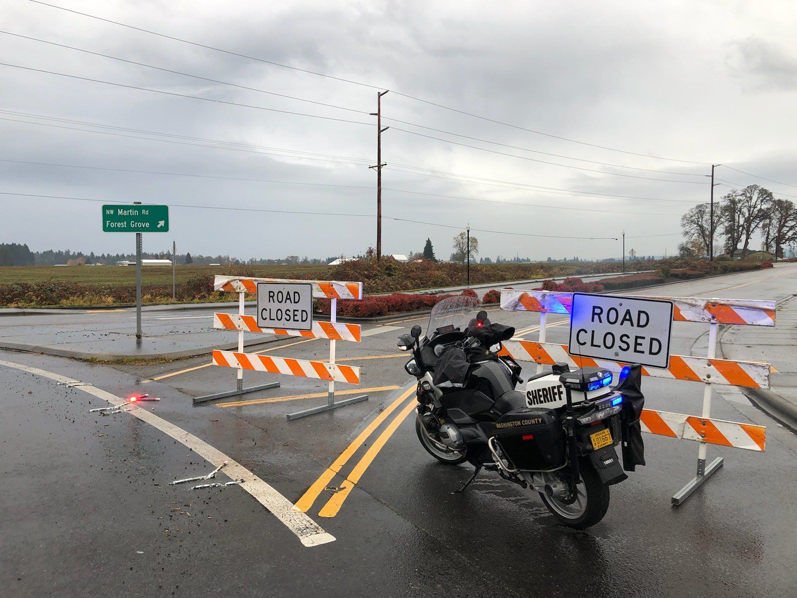 A driver hit and killed a man on Northwest Martin Road near Forest Grove on Nov. 12, 2019. Photo courtesy Washington County Sheriff's Office{ }