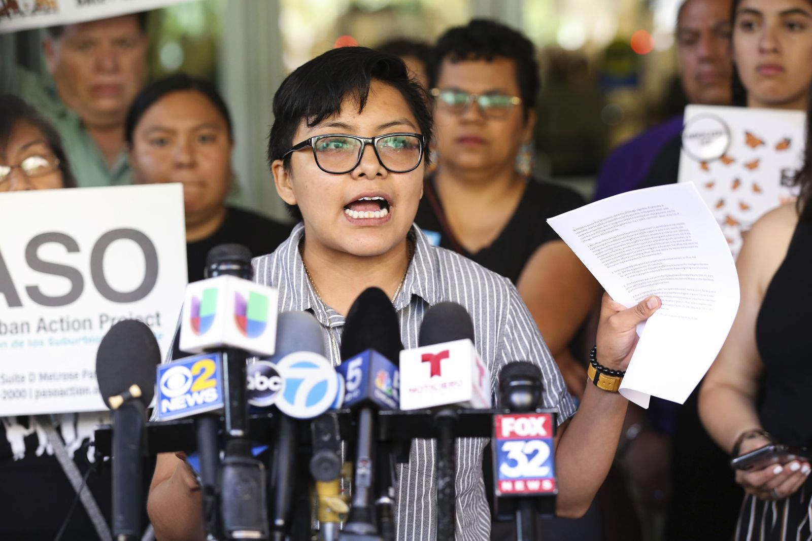 Rey Wences, an organizer at Organized Communities Against Deportations (OCAD), addresses reporters during a new conference outside U.S. Citizenship and Immigration Services offices in Chicago, Thursday, July 11, 2019.{ } (AP Photo/Amr Alfiky)