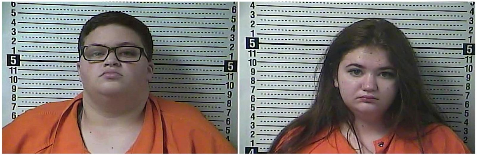 This combination of Saturday, Nov. 16, 2019 booking photos provided by the Boyle County Detention Center shows Isabelle Mason, left, and Jaimee Pack in Ky. A Kentucky pet store owner says the women stole a pair of guinea pigs, lobbing one of the animals at him during their escape on Saturday. (Boyle County Detention Center via AP)
