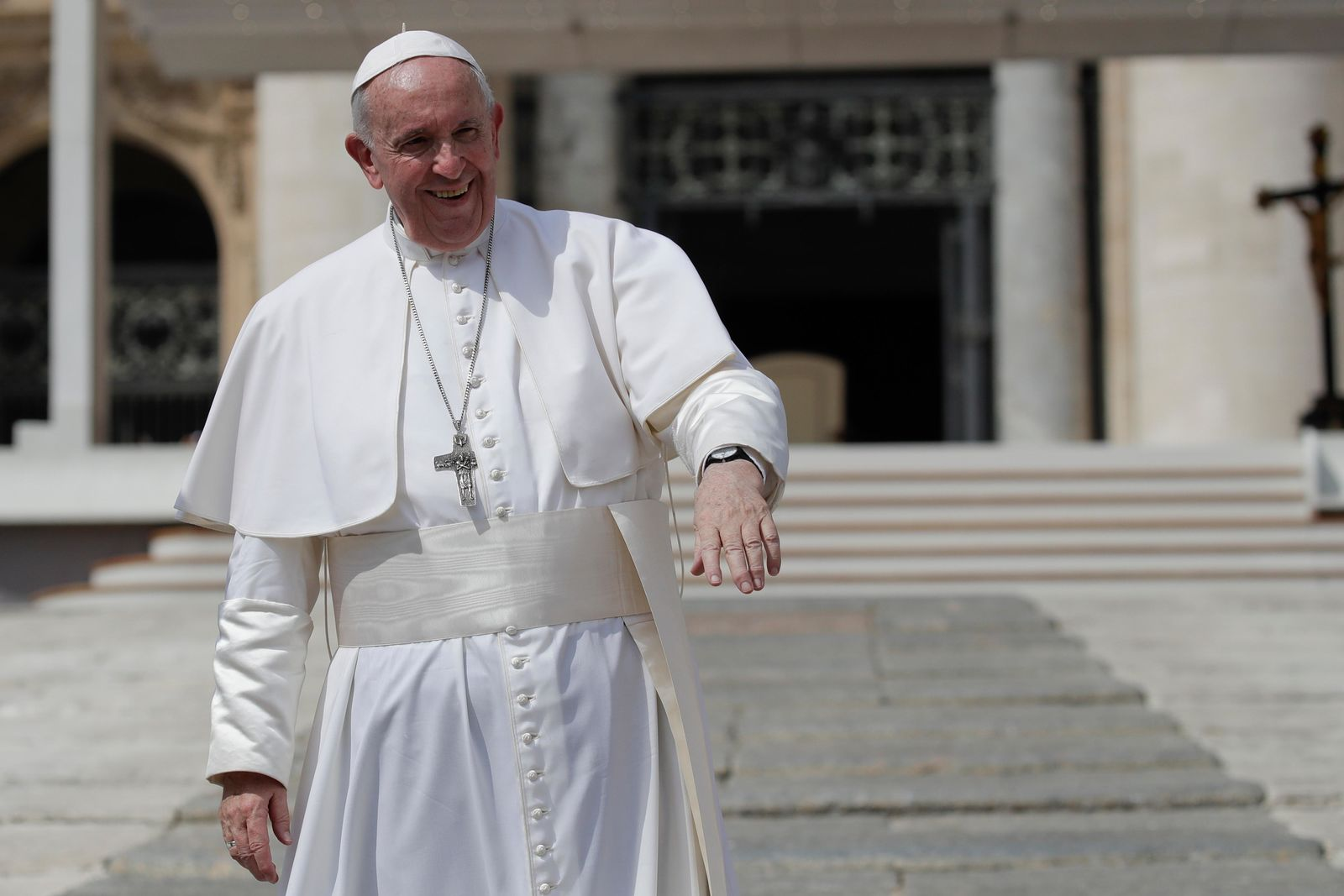 FILE – Pope Francis salutes pilgrims and faithful as he leaves St. Peter's Square at the Vatican after his weekly general audience, Wednesday, Aug. 28, 2019. (AP Photo/Alessandra Tarantino)
