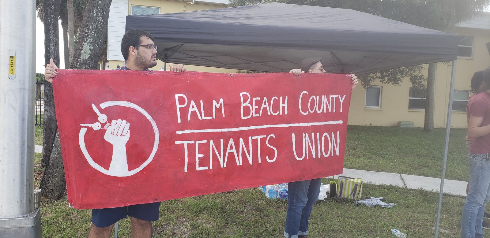<p>Members of the Palm Beach County Tenants Union barricaded themselves in an apartment at Stonybrook Friday afternoon ahead of evictions. (Palm Beach County Tenants Union)</p>
