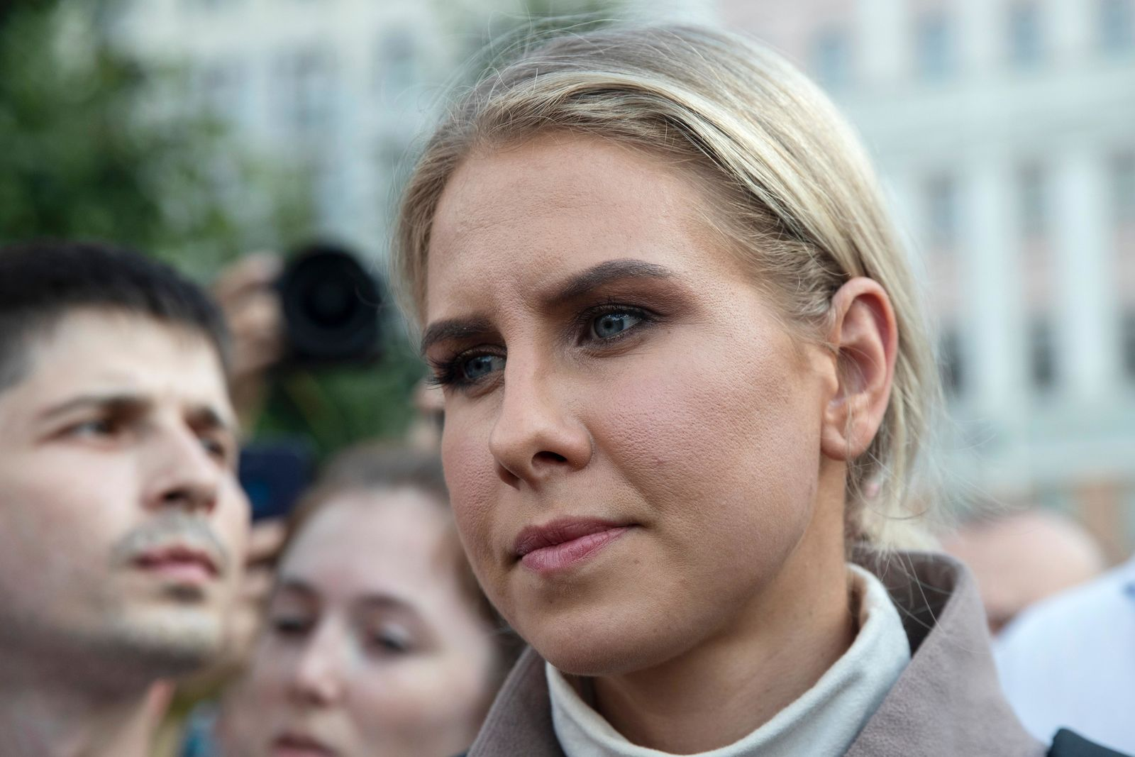 Russian opposition activist Lyubov Sobol attends a protest march in Moscow, Russia, Saturday, Aug. 31, 2019. (AP Photo/Pavel Golovkin)