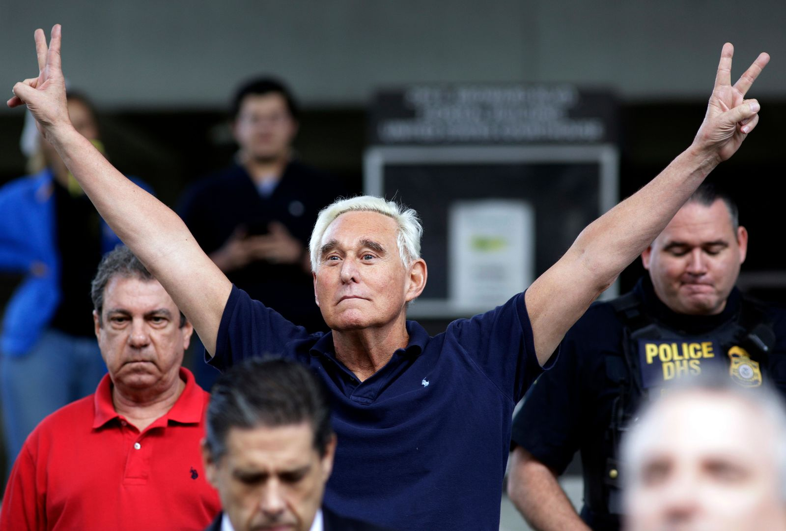 FILE - In this Jan. 25, 2019, file photo, former campaign adviser for President Donald Trump, Roger Stone walks out of the federal courthouse following a hearing in Fort Lauderdale, Fla.{ } (AP Photo/Lynne Sladky, File)