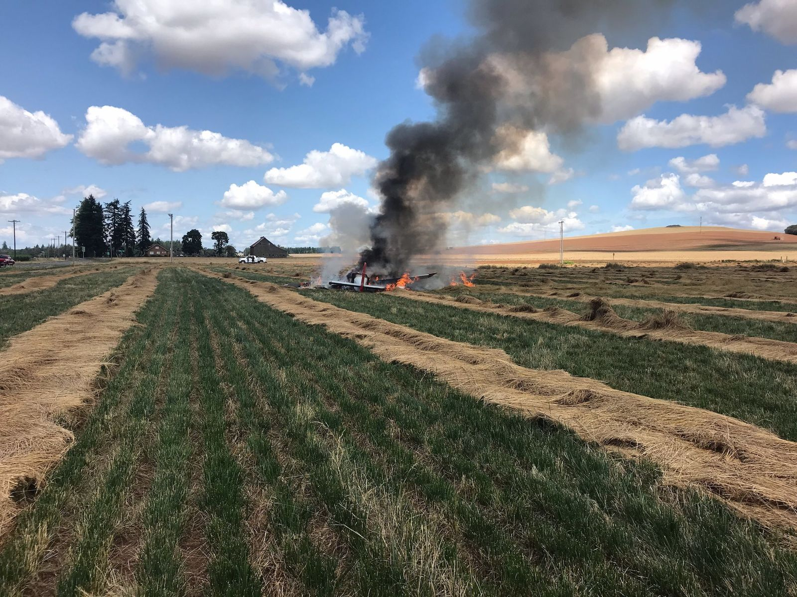 A plane went down in a field east of Salem, and the pilot was taken to the hospital for treatment. Photo courtesy of Marion County Sherrif's Office.<p></p>