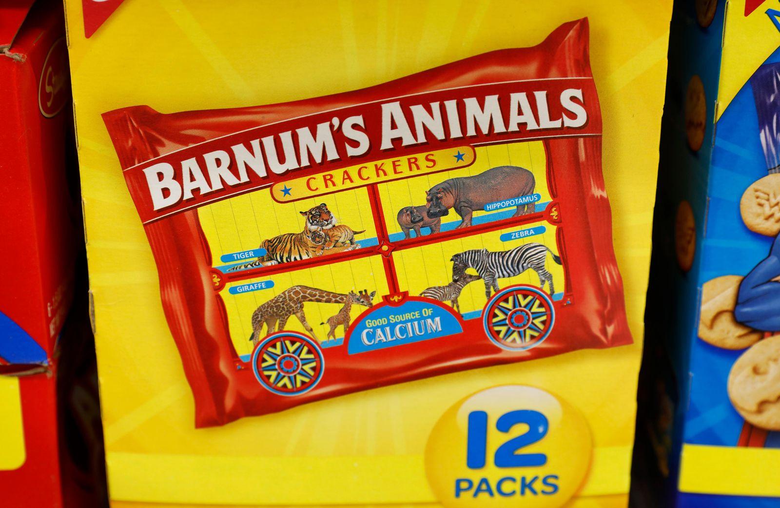 This Monday, Aug. 20, 2018, photo shows a multi-pack box of Nabisco Barnum's Animals crackers on the shelf of a local grocery store in Des Moines, Iowa. (AP Photo/Charlie Neibergall)