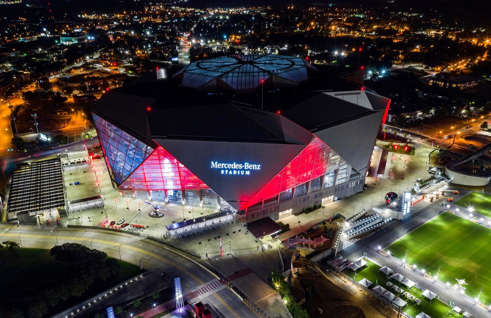 In this Friday, Sep. 21, 2018, photo, Mercedes-Benz Stadium is seen in this aerial photo in Atlanta. The stadium will be the site of Super Bowl LIII on Sunday, Feb. 3, 2019. (AP Photo/Danny Karnik)
