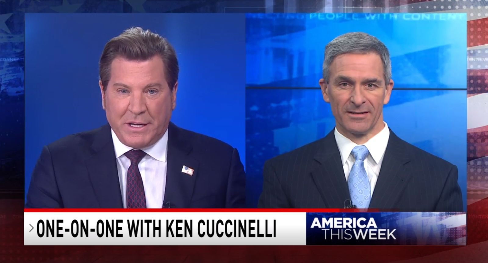 "Acting Director of U.S. Citizenship and Immigration Services Ken Cuccinelli tries to dispel rumors about new Trump administration immigration rules with Eric Bolling on ""America This Week,"" Wednesday, Aug. 28, 2019. (SBG)"