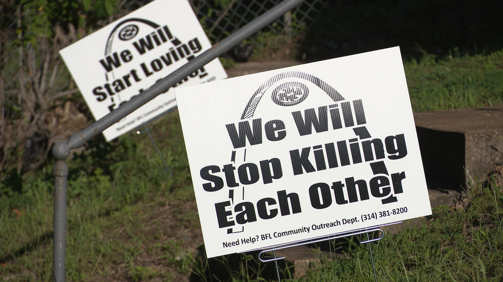 Protest signs dot the city of St. Louis following a rash of deadly shootings where children were the victims (Photo: Alex Brauer, Sinclair Broadcast Group)